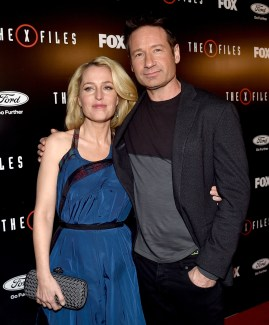 "LOS ANGELES, CA - JANUARY 12: Actress Gillian Anderson (L) and actor David Duchovny arrive at the premiere of Fox's ""The X-Files"" at the California Science Center on January 16, 2106 in Los Angeles, California. (Photo by Kevin Winter/Getty Images)"